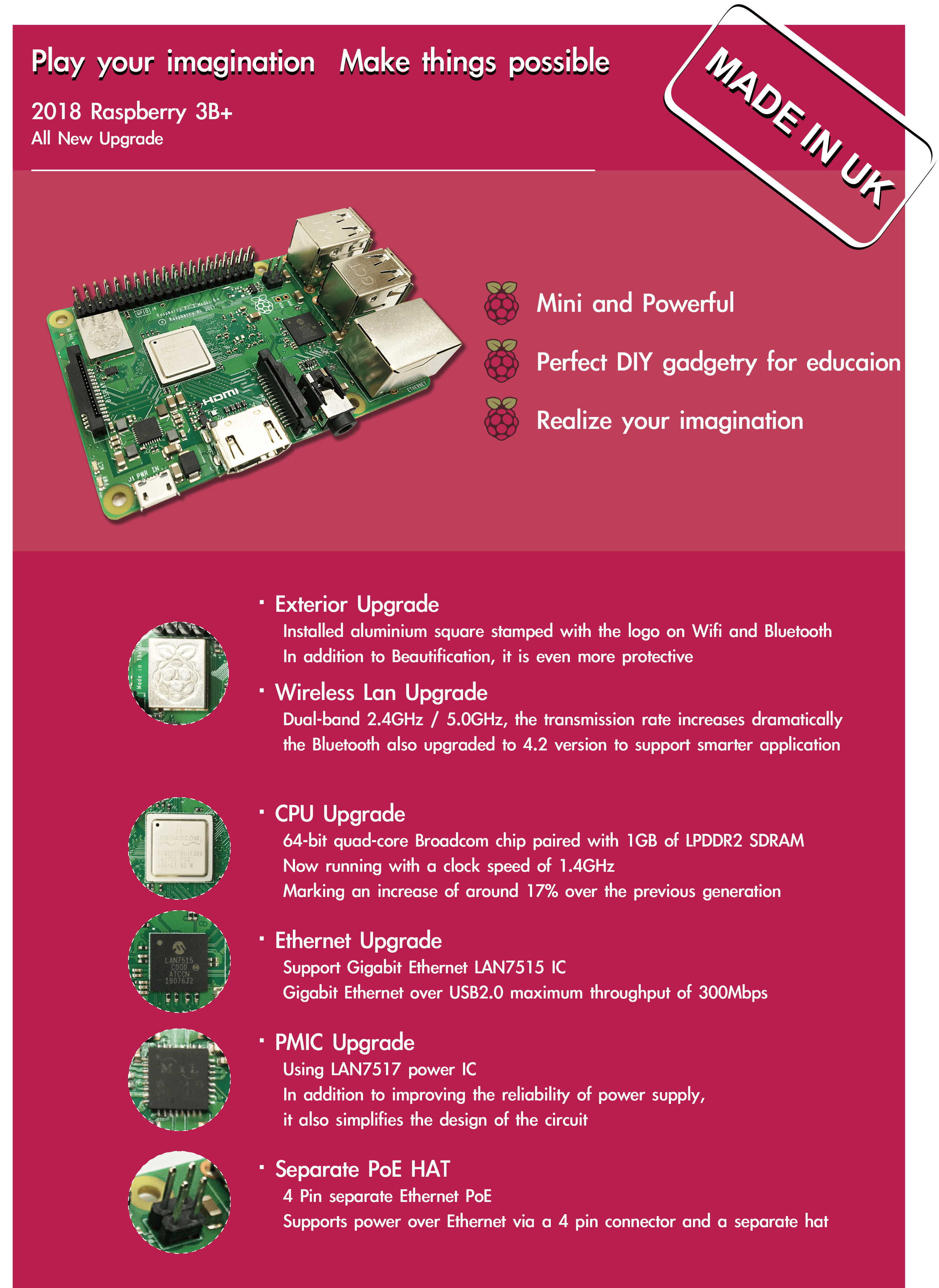 Raspberry Pi 3 Model B+ new upgrade