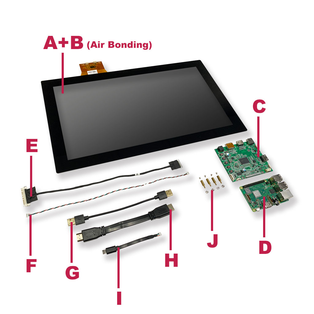 Raspberry Pi with AD Board & Touch Display one set including