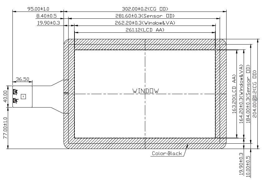 B121PFU-E02 2D Drawing